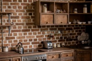 Kitchen residential decorative brick completed